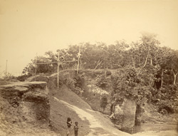 [View looking over a bridge, Sonargaon?]